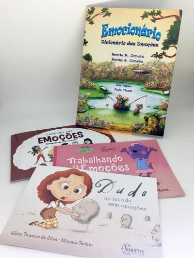 Kit Emocionário + 3 livros infantis sobre emoções